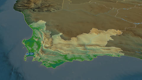 Western Cape - province of South-Africa. Physical Animation