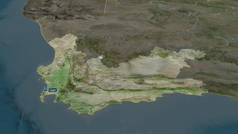 Western Cape - province of South-Africa. Satellite Animation