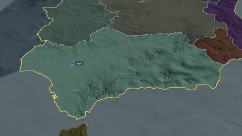 Andalucía - autonomous community of Spain. Administrative Animation