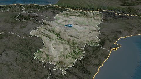 Aragón - autonomous community of Spain. Satellite Animation