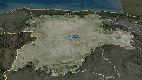 Castilla y León - autonomous community of Spain. Satellite Animation