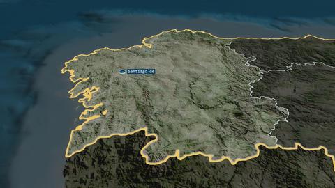 Galicia - autonomous community of Spain. Satellite Animation