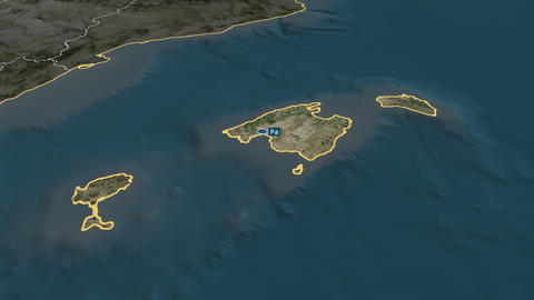 Islas Baleares - autonomous community of Spain. Satellite Animation