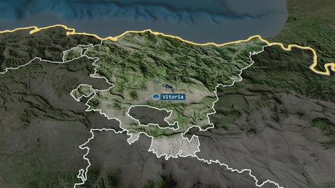 País Vasco - autonomous community of Spain. Satellite Animation