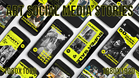 12 Art Social Media Stories After Effects Template