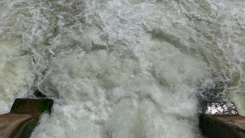 Fast water flow on a small dam on river in forest, sunny weather Acción en vivo