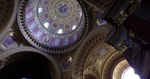 Budapest, Hungary. Circa August 2016. Camera pan and tilt inside the St. Stephen Footage