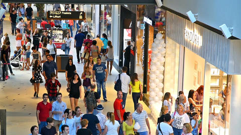People Crowd Rush For Shopping In Luxury Mall Interior Live Action