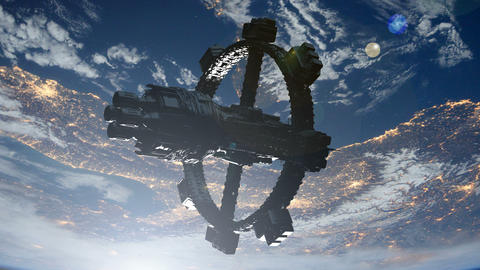 Space Station Orbiting Earth. Elements of this image furnished by NASA Animation