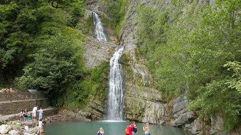 Agura waterfalls. Sochi, Russia Footage