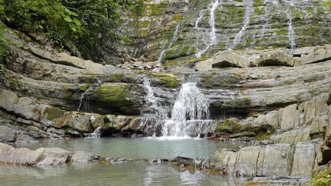 Agura waterfalls. Upper Falls. Sochi, Russia Footage