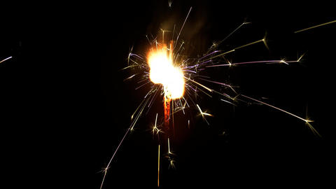 Three sparklers burning from bottom to top on black background HD PNG 25FPS Footage