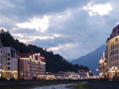 Quay Rosa Khutor at sunset. TimeLapse. Sochi, Russia Footage