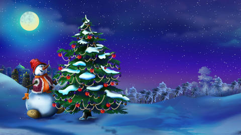 Snowman with a Christmas Tree Animation