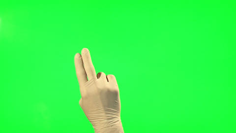 18 Touchscreen gestures - male hand with surgical gloves Footage