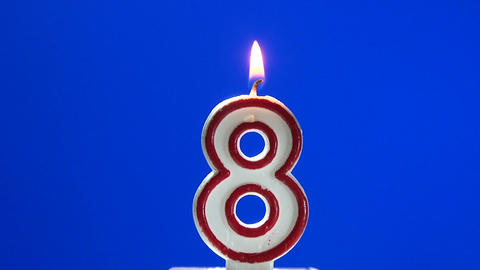 Number 8 - eight birthday candle burning - blow out at the end Live Action