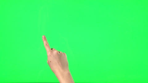 21 touchscreen gestures - female hand - on green screen Footage