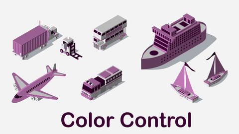 Transportation Isometric Elements Set After Effects Template