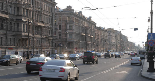 Russia, St.Petersburg, 09 June 2020: The architecture of Nevsky Prospect at Live Action