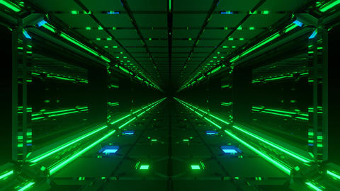 Motion graphics sci fi: futuristic long dark passage with straight neon green Animation