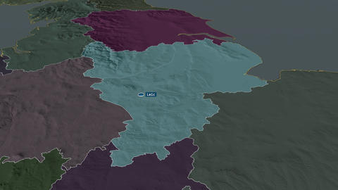 East Midlands - region of United-Kingdom. Administrative Animation