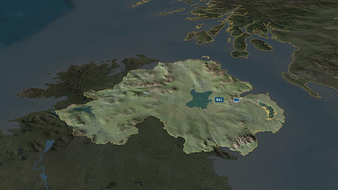 Northern Ireland - region of United-Kingdom. Satellite Animation