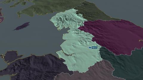 North West - region of United-Kingdom. Administrative Animation