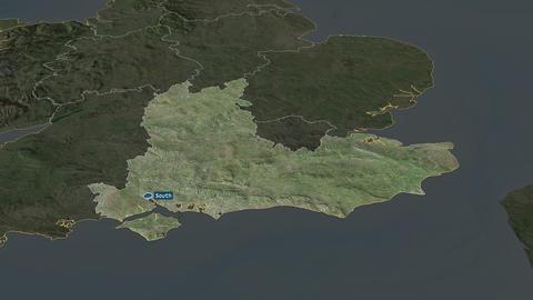 South East - region of United-Kingdom. Satellite Animation