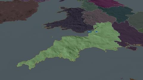South West - region of United-Kingdom. Administrative Animation