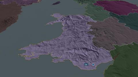 Wales - region of United-Kingdom. Administrative Animation