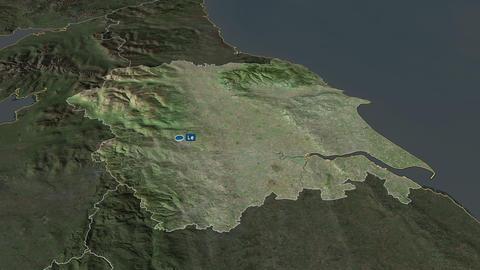 Yorkshire and the Humber - region of United-Kingdom. Satellite Animation