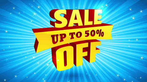 sale lower offer promo with shiny 3d letters over blue radial radiate background suggesting high Animation
