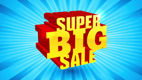 super big sale golden and shiny 3d text over blue rays background for store offering opportunity Animation
