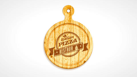 italian pizza restaurant 50s futuristic style branding carved on wood over rounded cutting board for CG動画