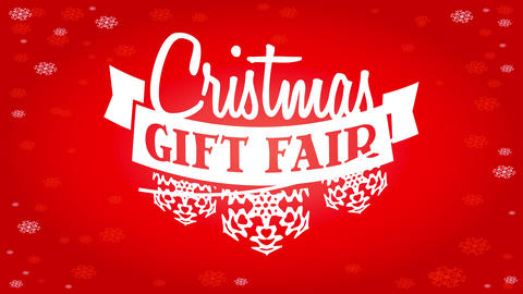 christmas gift fair signboard with white ribbon decorated with snowflakes paper cut over snowy red Animation