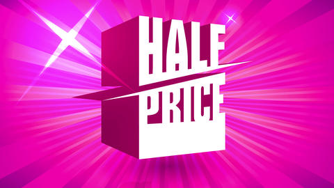 half price sale with 3d figure presenting announcement slicing word over glossy pink background for Animation