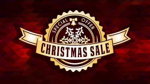 christmas sale special discount offer ad with elegant golden circular seal over ruby polygon texture Animation