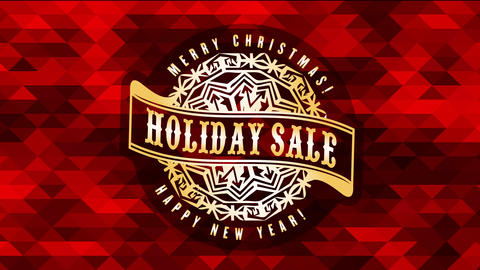 holiday sale sign for merry christmas and happy new year over background with 3d red triangles Animation