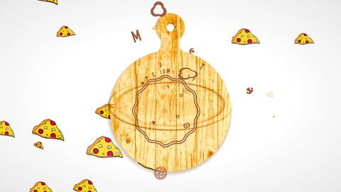 warm pizza piece conceptual art painted on wooden cutting board for pizzeria rapid delivery CG動画