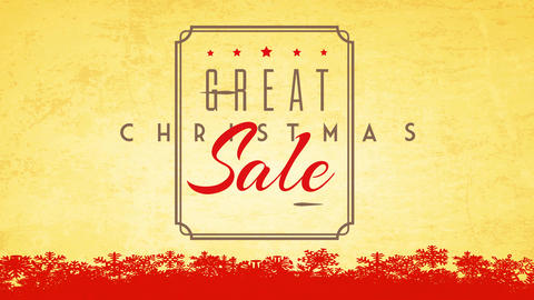 classic christmas sale publicity with delicate emblem and lettering over paper texture background Animation