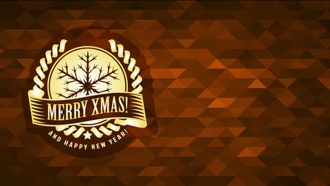merry christmas and satisfied new year announcement with gold flake symbol over conceptual polygon Animation
