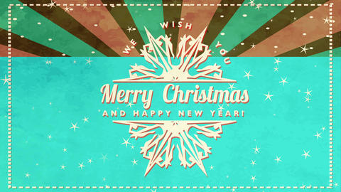 contract vacation postcard wishing employees merry xmas and happy new year with retro look and flake Animation