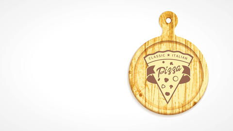 classic italian pizzeria icon with a pizza slice design engraved on a wooden carving board giving CG動画
