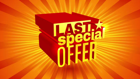 3d wording for last special discount offer with red yellow and orange radial rays on background Animation