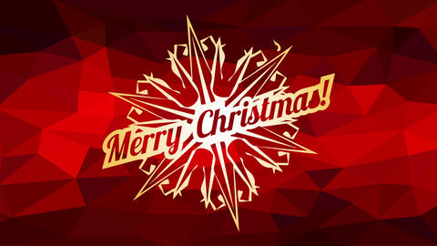 merry christmas ad written inside snowflake icon over abstract background with red 3d polygon Animation