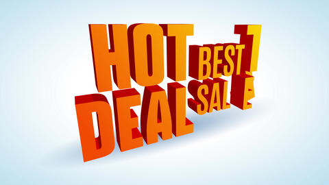 hot deal best sale ad written with big orange 3d lettering in diagonal position over white Animation