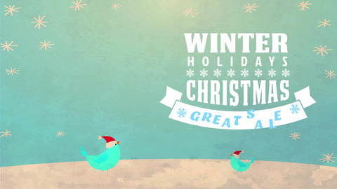 seasonal vacation excellent agreement announcement with printing over a xmas scene with vertebrate Animation