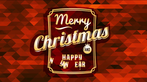 merry christmas and happy new year over a red triangle mosaic and classic typography Animation
