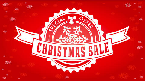 christmas sale ad with little bell with ribbon decorating round fancy emblem over shiny red Animation