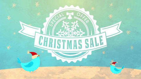 special offer ad for christmas sale with birds wearing santa claus hats under winter night sky with Animation